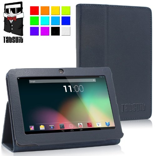 "TabSuit® 7"" PU Leather Case for 7"" Tablet Dragon Touch A13 Q88, Y88, Zeepad, Chromo, Alldaymall, Matricom Tab Nero, Tagital w/ Dual Camera [by TabletExpress] (Blue)"