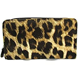 Buxton Coupon and Receipt Organizer Wallet with Card Slot Compartment (Leopard Print)