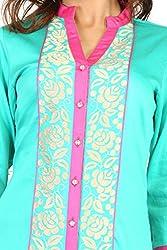 Feather Touch Women's Cotton Kurti (FT3088CG1_Green_38)