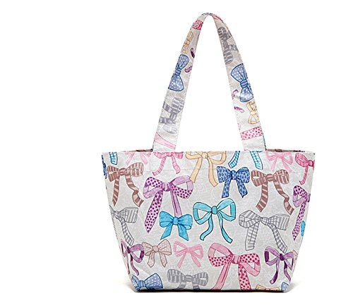 Lady Lucy Japanese Style Waterproof Picnic Lunch Bag, Colorful Pink Bows