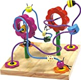 Flower Labyrinth Toy with Beads , Metal Frame and Wooden Base