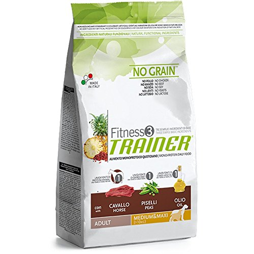 Trainer (Nova Foods) - Fitness 3 No Grain Adult Medium & Maxi con Cavallo, Piselli e Olio Sacco 3,00 kg
