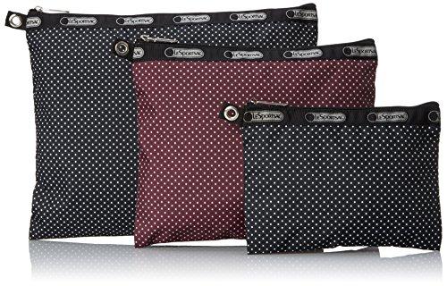 LeSportsac 3 Piece Travel Set Pouch, Jet Set Pin Dot Multi, One Size