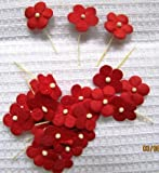 Flowers Medium Size Mulberry Paper in Red with Stems x 40 flowers