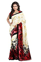 Pruthu Georgette Sari with Unstitched Blouse (pmadh_005_White)
