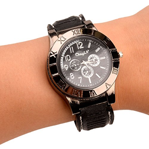 ckeyin-r-2-in-1-rechargeable-windproof-flameless-wrist-watch-cigarette-flame-lighter-black