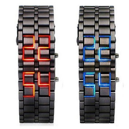 Abco Tech Lava Style Iron Samurai Black Bracelet LED Japanese Inspired Watch RED / BLUE **2 PACK**
