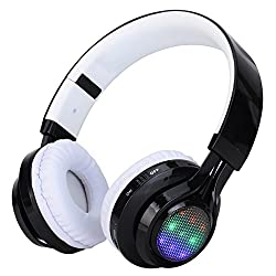 Mobilegear Wireless Bluetooth Headphone With Dancing Lights FM Micro SD Card Slot & AUX Input - White