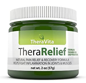 Pain Relief Cream - #1 Fast Acting Pain Relief For Arthritis, Lower Back Pain, Neck Pain, Joint Pain, Knee Pain, Sciatica & Chronic Pain. Non Greasy, No Smell, No Stain, All Natural Alternative. Can Be Worn Anywhere. |Thera Relief By Thera Vita| Lifetime Guaranteed 2 Ounces