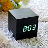 EiioX Fashion Cube Mini Black Skin Green LED Wooden Digital Alarm Clock -Time Temperature Date Display - Voice and Touch Activated