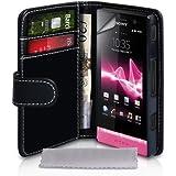 Sony Xperia U Tasche Schwarz PU Ledertasche Brieftasche Hülle Mit Displayschutz Und Poliertuch