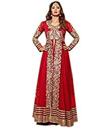 Clickedia Women's Georgette Salwar Suit Anarkali -Dress Material -Free Size (210 Sangeeta Red)