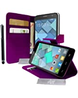 Etui Luxe Housse Violet Stand et Portefeuille pour Alcatel One Touch idol S / Bouygues Telecom BS472 / Ultym 4 + STYLET et 3 FILM OFFERT !...