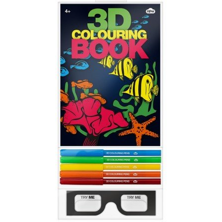 3D Coloring Book with Coloring Pens 3D Glasses Cromadepth Lenses Illusion by NPW