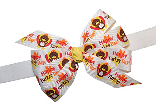 Webb Direct 2U Baby-Girls Happy Turkey Day Hair Bow On Stretch Headband (5117) front-926246