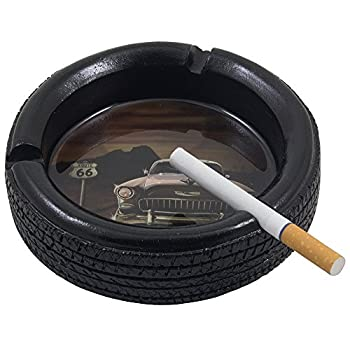 Car Tire Ashtray with Elvis Presley's Pink Cadillac on Route 66 for Vintage Auto Mechanics Shop or Retro Roadhouse Table Decor As Classic Father's Day Gifts for Dad