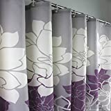 Melife® Purple White Chrysanthemum Flower Shower Curtain Bath Curtains
