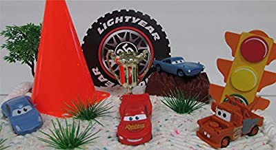 """Disney CARS 10 Piece Birthday Cake Topper Set Featuring Lightning Mcqueen, Mater, Sally and Finn Mcmissle, Themed Decorative Accessories, Figures Average 2.5"""" Long to 1"""" Tall"""