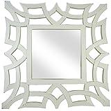 Urmila Enterprises Unbreakable Antique Styled Wooden Mirror (59.5 Cm X1.5 Cm X 59.5 Cm, White)