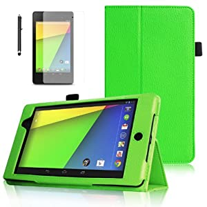 "PrimeCases® Green Premium PU Leather Case Cover with Stylus and Screen Protector for The New Google Nexus 7-inch 2 (will only fit 2nd generation Asus Nexus 7"", supports Auto Wake Sleep feature)"