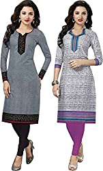 SDM Women's Kurti Printed Cotton Dress Material Unstitched Combo of 2 (P110-114, Unstitched)