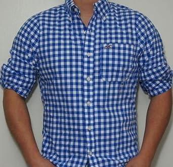 hollister hemd gr m herren blau weiss kariert direkt aus usa bitte beachten lieferzeit. Black Bedroom Furniture Sets. Home Design Ideas