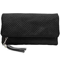 BMC Womens Midnight Black Textured PU Faux Leather Quilted Pattern Triple Compartment Zipper Tassel Fashion Clutch Handbag