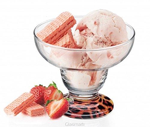 99/glace/Sundae Bol à dessert sur pied Cup plat en verre Motif imprimé Animal