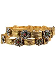 NK Jewels Fashion Jewellery Collection Gold Colour Metal Bangle Set For Women - B00VI9MM4E