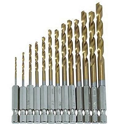 "13pcs HSS 1/4""Hex Shank Titanium-Coated Nitride High Speed Steel Drill Bit Set For Wood Metal& Plastic"