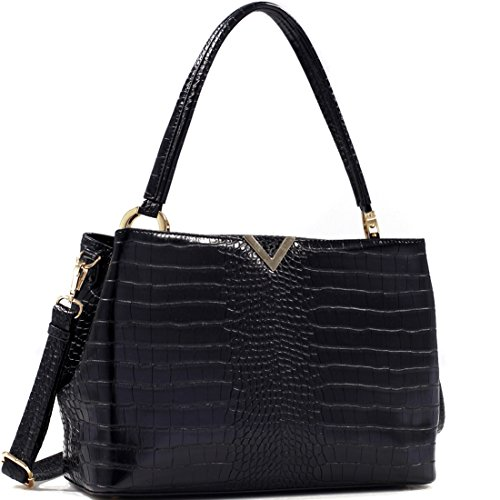 Croc Embossed V Emblem Satchel Shoulder Bag Handbag Purse With Removable Shoulder Strap - Black