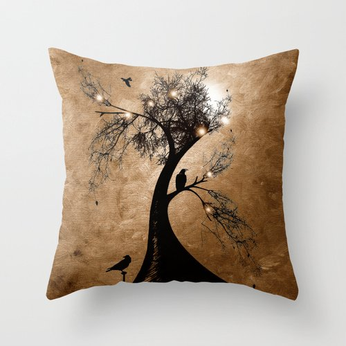 """Popular Throw Pillow-100% Cotton Linen Square Decorative 18""""X18 """"Inch/(45Cm X 45Cm) Throw Pillow Case Cushion Cover Exclusive Design Raven'S Christmas Decorate Your Home More Beautiful&Warm"""