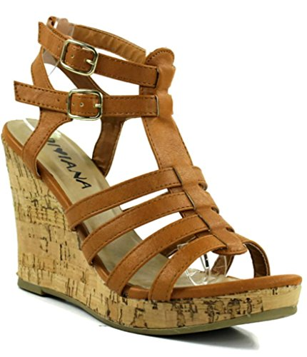 Diviana Women'S Kealie-07 Strappy Faux Leather Cork Wedge Sandals 11 front-984403