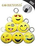 Mini Cute Emoji Smiley Emoticon Cushion Stuffed Plush Soft Toy Doll Key Chain (Set Of 6 Different Designs)