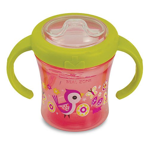 Silicone Spout 2Handle 7 Ounce Trainer Sippy Cup Pink Birds Butterflies