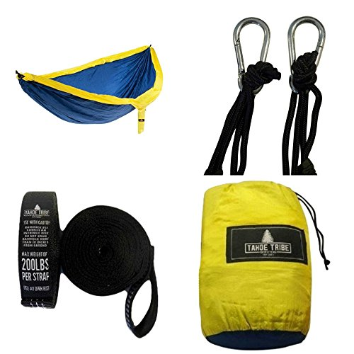 Backyard to Back Country Suspension Double Size Camping Hammock By Tahoe Tribe Outfitters - for Hiking, Hunting, the Beach & More - Nylon Build Comes w/ Easy Attach Tree Straps as Bonus Gift (Air Horns In A Can compare prices)