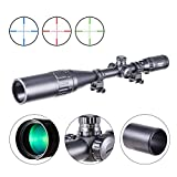 Pinty 6-24x50 AOL Red Green Blue Illuminated Mil Dot Scope with Sunshade Tube & Flip-Open Covers