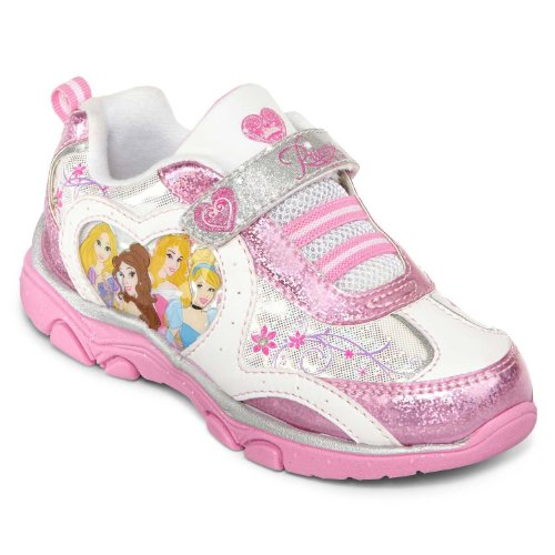 Disney Princess Lighted Athletic Running Shoe (Toddler/Little Kid),White/Pink,8 M Us Toddler