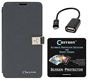 Chevron Royal Armour Flip Cover With Stand Mode for Lenovo A6010 with HD Screen Guard & Micro OTG Cable (Grey)