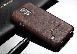 Samsung Galaxy S5 Hülle - ECHTES LEDER HANDGEFERTIGT - bester Schutz Ihres Handys im Flip Cover Design - Etui Case Schale für Ihr Smartphone - Farbe Braun