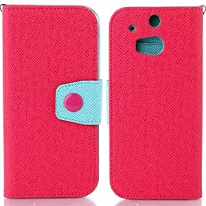 Contrast Color Leather Cover Case with Wallet/Stand for HTC One M8 - Blue / Red