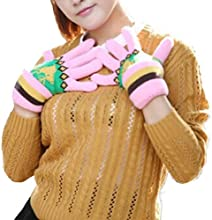 BinmerTMWomen Deer Cute Pattern Plush Ladies Gloves Mittens Snow Full Finger Warmer