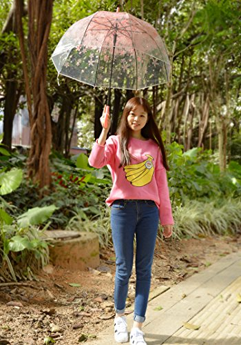 Tinksky Blase Regenschirm romantische kirsche klar regen regenschirm halb-Automatik -