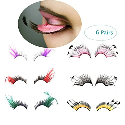 BTArtbox 6 Pairs Sparkle Color Red Blue Long and Thick Exaggerate Feather False Eyelashes Party Fake Eye Lashes Extention Halloween Costume (Blue False Eyelashes compare prices)