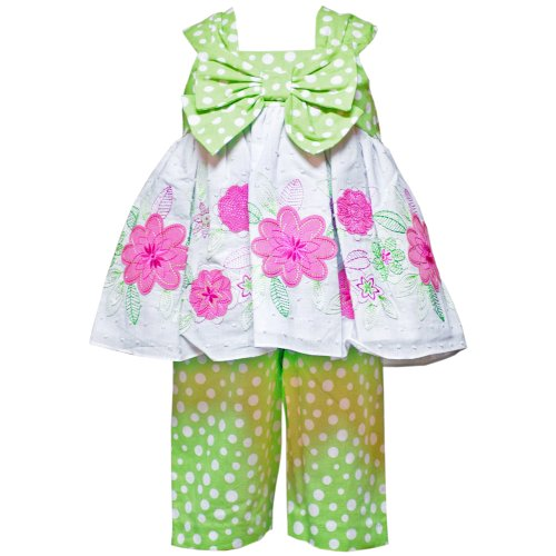 Size-18M RRE-4083E 2-Piece HONEYDEW-GREEN BOW FRONT FLORAL EMBROIDERED Special Occasion Spring Easter Party Capri Dress Outfit/Set,E140831 Rare Editions INFANT
