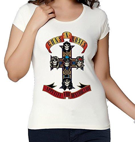 Guns N Roses, Appetite For Destruction, ispirato a croce, Maglietta da donna bianco XX-Large