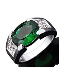 Htxinze Jewelry Men Green Emerald 10KT White Gold Filled Ring Gift