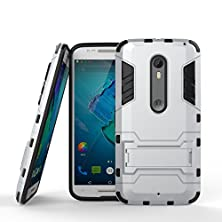 buy Moto X Pure Edition Case,Moto X Style Case,Aomax@ Armor [Dual Layer] Hybrid Slim Fit Protective With Kick-Stand Feature Shock Absorption Protection Cover For Moto X Pure Edition/Style Gtx Armor Silve