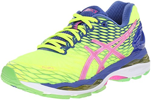 ASICS Women's Gel-Nimbus 18 Running Shoe, Flash Yellow/Pink Glow/Asics Blue, 9.5 M US