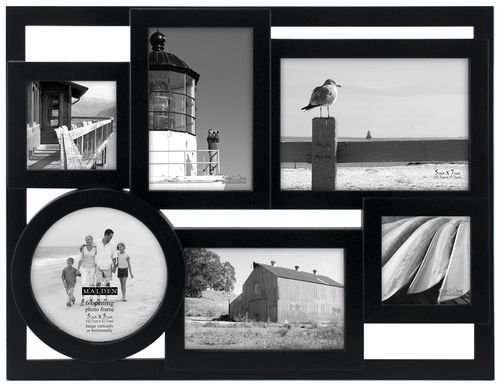 Malden Mondrian Black Wood Puzzle Collage Multi Opening